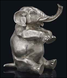 Seated Elephant Table Lighter, Hinged Head Opens the Lighter Fluid Compartment, Stock #1613, Price Realized: $57,075