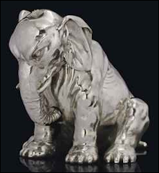 Seated Elephant Table Lighter, 4.5 in./11.5 cm high, 27.37 oz./851.2 gr. of silver, $75,910