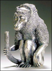 Seated Baboon Table Lighter, First St. Petersburg Silver Artel ICA Workmaster's Mark (Succeeded Rapppoport, Active 1908-1911), Marked and Retailed by Faberge, $58,750