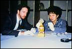 Timothy Adams and Irina Polynina Studying the Madonna Lily Egg for the 1989-90 San Diego Museum of Art Exhibition, Later Shown in St. Petersburg, Russia. (Photograph Courtesy Timothy Adams)