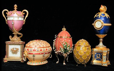 Vivian Alexander Collection - Duchess of Marlborough, Renaissance, Lilies of the Valley, Coronation, and Cockerel Eggs. Géza von Habsburg upon seeing my Lilies of the Valley Egg noticed it had a stand with three legs instead of the four on the original Fabergé egg. He told me the original Fabergé Lilies of the Valley Egg was awarded Best of Show at the 1900 World's Fair in Paris, and the judges at the fair thought the piece was perfect except it would had been even better, if Fabergé had used three legs instead of four. (Caption Details Courtesy of the Author)