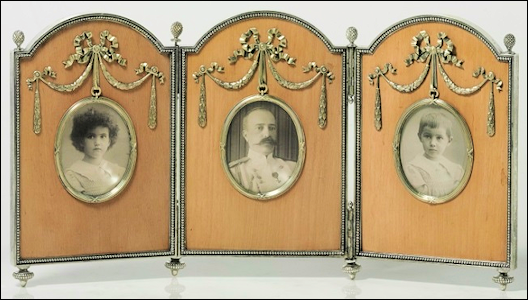 (A) Silver and Wood Triptych Photograph Frame, Workmaster Antti Nevalainen, 1899-1904 (Courtesy Christie's, New York)