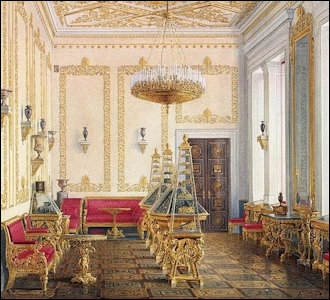 1856: Interiors of the New Hermitage, The Empress's Cabinet, Watercolor by Edward Petrovich Hau (1807-1887) (Courtesy Hermitage Museum)