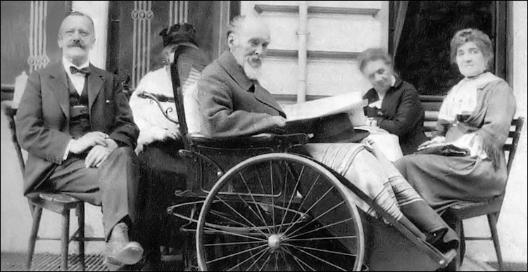 Carl Fabergé in Wheelchair with His Wife Auguste Fabergé (far right), Wiesbaden, 1918 (von Habsburg, Géza. Fabergé, 1986, 30)