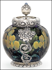 Fabergé Tobacco Humidor with Ceramic Body by the Imperial Stroganov School Sold<br /> for $193,008 (Courtesy Christie's London)