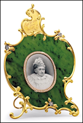 Joan Rivers Sale: Fabergé Nephrite Photograph Frame Presented by Queen Victoria to Queen Louise of Denmark, $245,000. Video with Melissa Rivers (Courtesy Christie's New York)