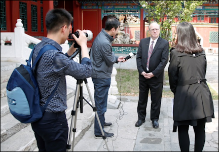 Barry Shifman's Interview by Chinese Television Stations (Photographs Courtesy of the Author)