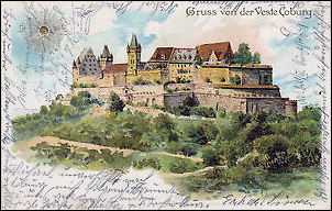 "Painted Ivory Miniatures (1 x 11/16"", 2.5 x 2.8cm) by Zehngraf. Veste Coburg (left), Palace Church (right), Location Unknown (Courtesy Virginia Museum of Fine Arts) Middle: Postcard of the Fortress Coburg (Private Collection)"