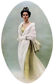 A photo from a Cartier advertisement for 1953. The model is wearing the Russian imperial nupital crown which was owned by Cartier at the time.