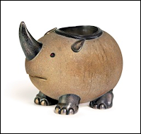 Fabergé Sandstone Match Holder in the Form of a Rhinoceros (The de Guigne Collection)