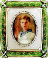 Zuiev Miniature Portrait (ca. 1.5 inches high) of Tsesarevich Alexei, Painted on Ivory on the 1911 15th Anniversary Egg (Courtesy Fabergé Museum, St. Petersburg, Russia)