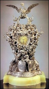Alexander III 25th Wedding Anniversary Clock by Fabergé, 1891 (Courtesy Christie's New York)