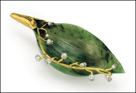 Nephrite Study of a Lily of the Valley Leaf by Fabergé (Joan Rivers Collection)