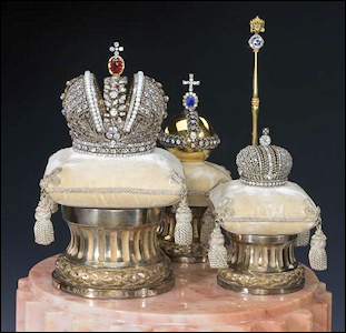 (H.) Miniature of the Russian State Regalia, Platinum and Diamonds by Fabergé, 1900 (Courtesy Royal Russia and Wiki)