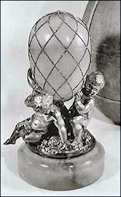 1892 Diamond Trellis Egg Missing It's Surprise with Putti Base, Sotheby's London, 1960 (Archival Photograph)