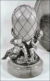 1892 Diamond Trellis Egg Missing It's Surprise with Putti Base, Sotheby's London, 1960 (Archival Photograph)