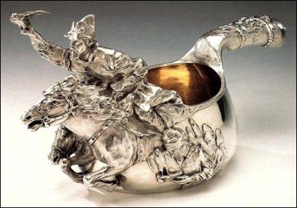 Fabergé Silver Falconer Kosvh (21 in./53.3 cm) (Courtesy Sotheby's)
