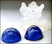 K. Materials of the Components: Egg Halves – Dark Blue Glass | Cloud Base – Opaque Rock | Crystal Silver Putti and Nephrite Pedestal, Shown in the Sketch But Missing
