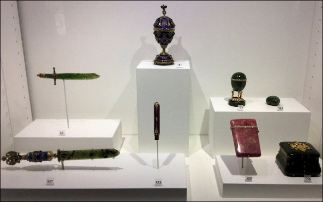 Fabergé and Fauxbergé Display Case in the McFerrin Gallery, Houston, Texas (Photograph by Pat Hazlett)