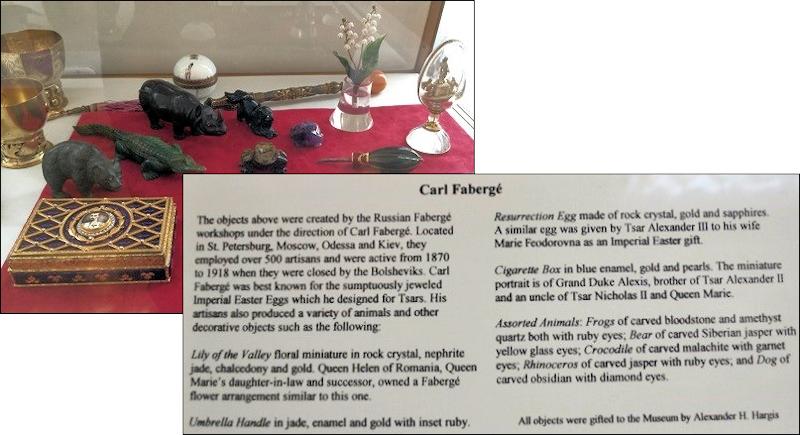 Maryhill Display Case with Objects Labeled Fabergé (Photographs by Kristin Mills and DeeAnn Hoff)