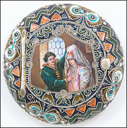 Rückert Silver-gilt and Cloisonné Pictorial Boxes in the Russian Style, Workmaster Feodor Rückert, K. Fabergé beneath the Imperial Warrant, 88 Standard, Moscow, ca. 19102 (Courtesy McFerrin Collection)